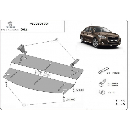 Peugeot 301 (cover under the engine) - Metal sheet