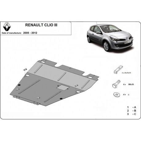 Renault Clio III (cover under the engine) - Metal sheet