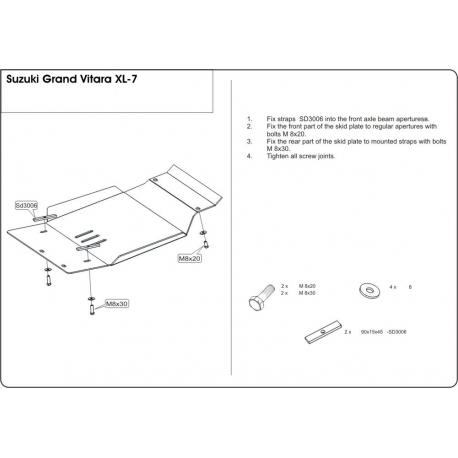 Suzuki Grand Vitara XL-7 (cover under the engine) - Metal sheet