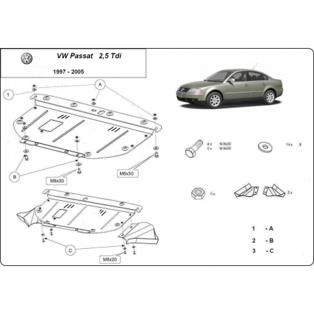Skoda SuperB (cover under the engine) 2,5TDi, V6 - Metal sheet