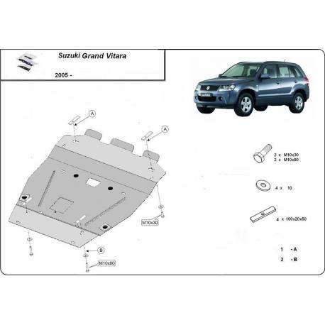Suzuki Grand Vitara (cover under the engine) 1.6, 1.9, 2.0, 2.4, 3.2, V6 - Metal sheet