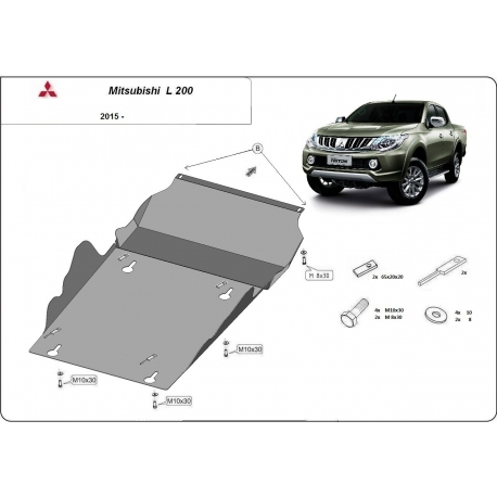 Mitsubishi L200 Cover under the gearbox - Metal sheet