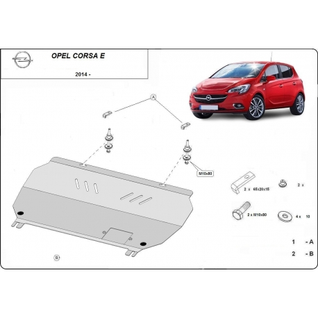 Opel Corsa E Cover under the engine - Metal sheet