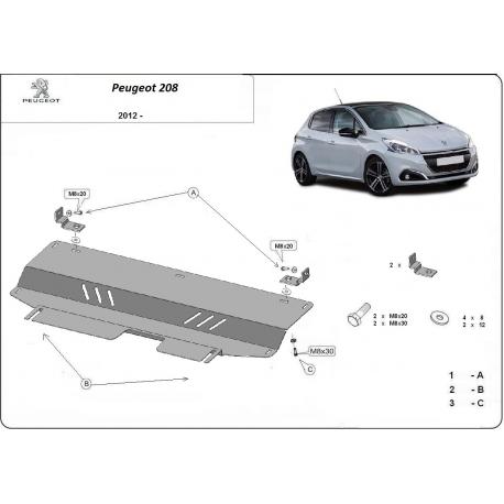 Peugeot 208 Motorschutz - Stahl