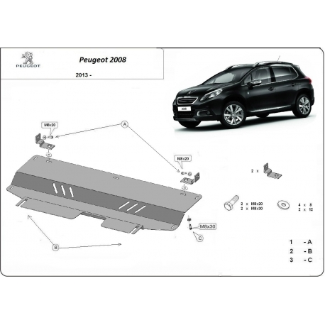 Peugeot 2008 Cover under the engine - Metal sheet