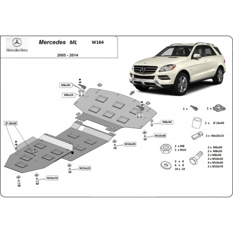 Mercedes ML W164 Cover under the engine and gearbox - Metal sheet