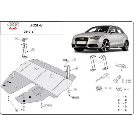 Audi A1 cover under the engine - Metal sheet