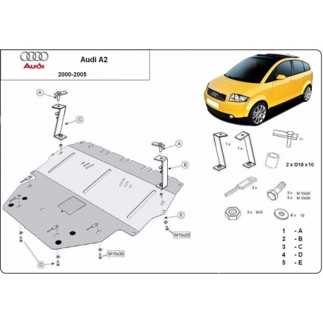 Audi A2 cover under the engine - Metal sheet