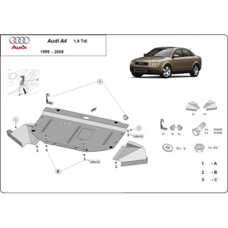 Audi A4 cover under the engine 1.9 Tdi - Metal sheet