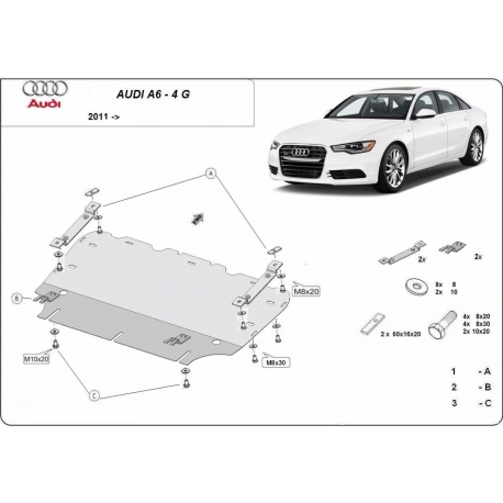 Audi A6 cover under the engine - Metal sheet