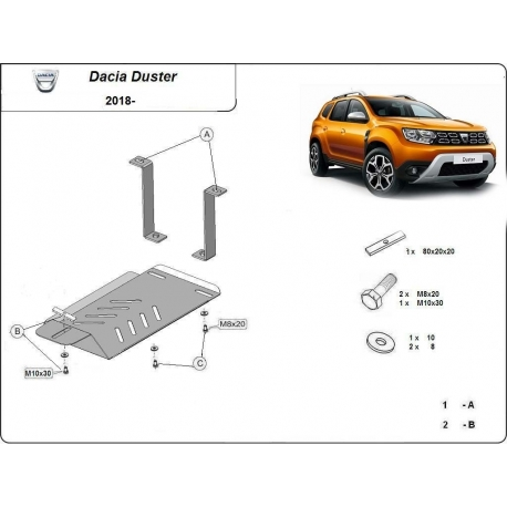 Dacia Duster 4x4 cover under the rear differential - Metal sheet