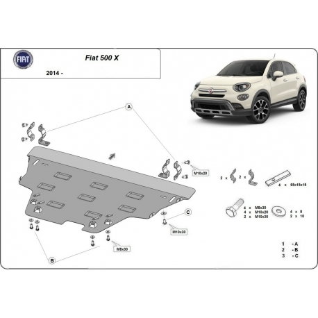 Fiat 500x cover under the engine - Metal sheet