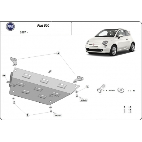 Fiat 500 cover under the engine - Metal sheet
