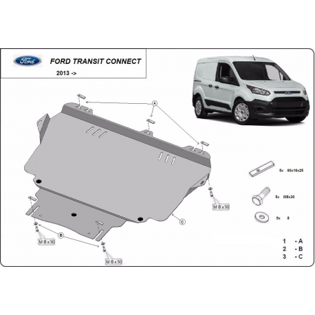 Ford Transit Connect cover under the engine - Metal sheet