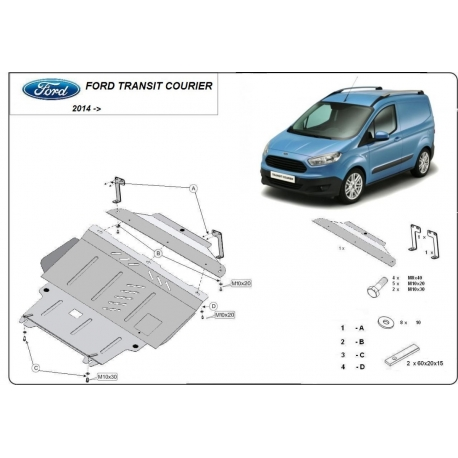 Ford Transit Courier cover under the engine 1.0, 1.5 TDci, 1.6 Tdci - Metal sheet