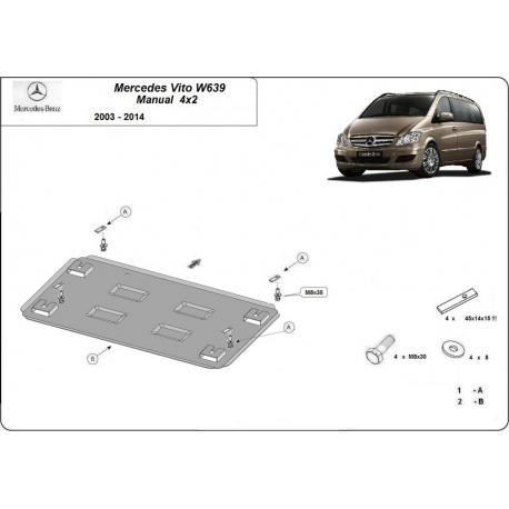 Mercedes Viano W639 cover under the engine 2.2 D - Metal sheet