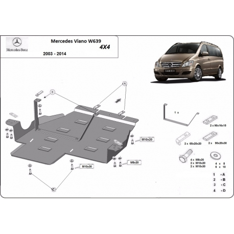 Mercedes Viano W639 Cover under automatic transmission - Metal sheet