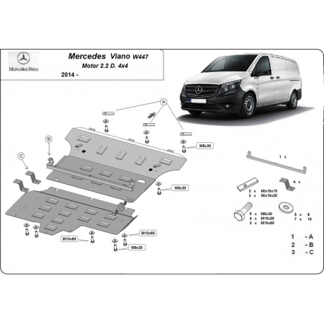 Mercedes Viano W447 cover under the engine 2.2 D - Metal sheet