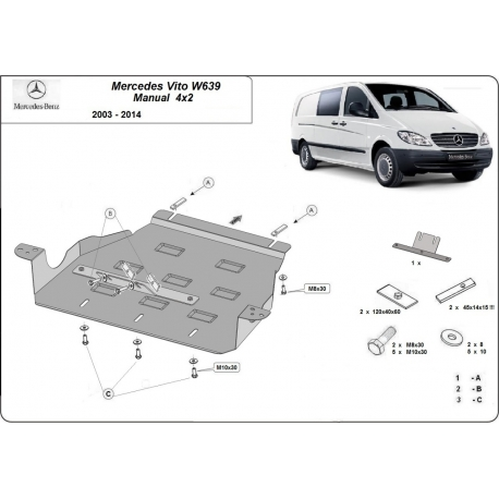 Mercedes Vito W639 Cover under the gearbox 2.2 D - Metal sheet