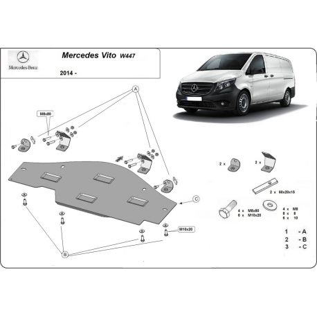 Mercedes Vito W447 cover for EGR, system STOP & GO 1.6 D - Metal sheet