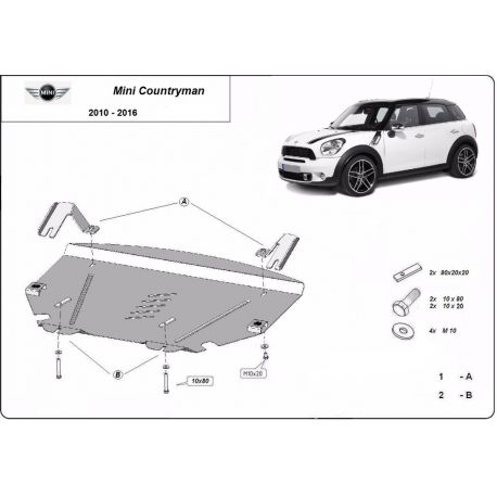 Mini Cooper Countryman cover under the engine - Metal sheet