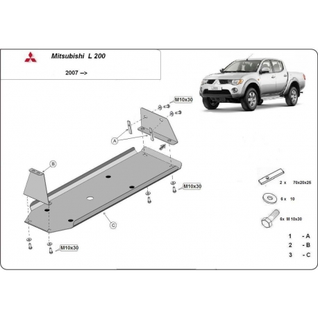 Mitsubishi L 200 Cover under the fuel tank - Metal sheet