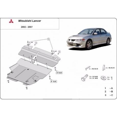 Mitsubishi Lancer cover under the engine - Metal sheet