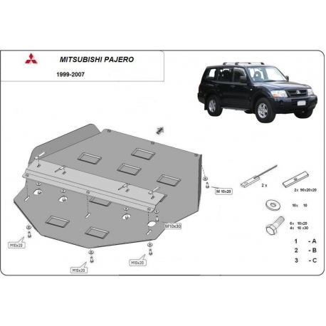 Mitsubishi Montero 3 Cover under the gearbox - Metal sheet