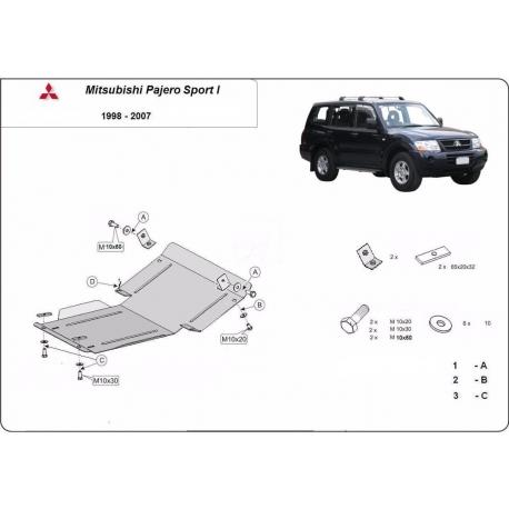 Mitsubishi Pajero Sport 1 cover under the engine - Metal sheet