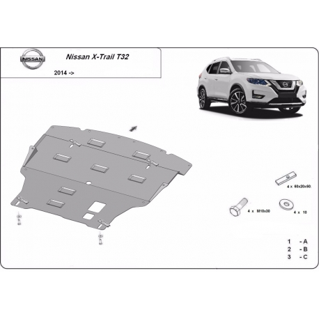 Nissan X-Trail cover under the engine - Metal sheet