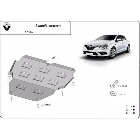 Renault Megane 4 cover under the engine - Metal sheet
