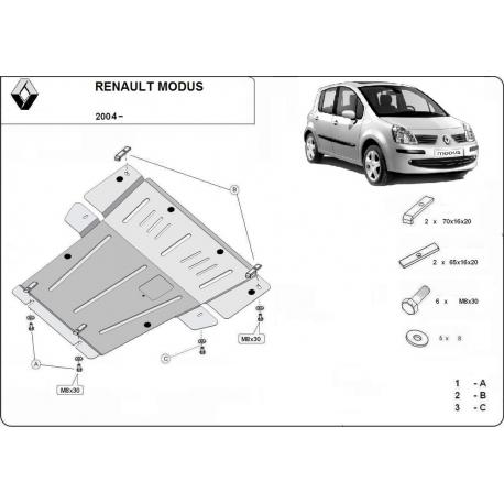 Renault Modus Unterfahrschutz - Stahl