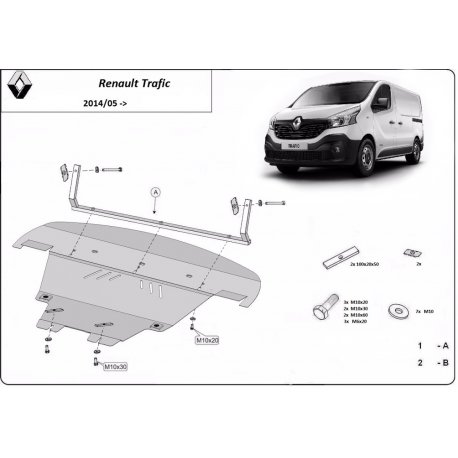 Renault Trafic cover under the engine - Metal sheet