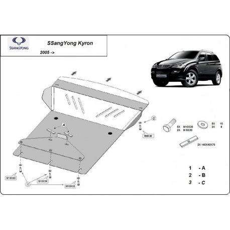 SsangYong Kyron cover under the engine 2.0 Xdi, 2.7Xdi, 3.2, 2.3 - Metal sheet
