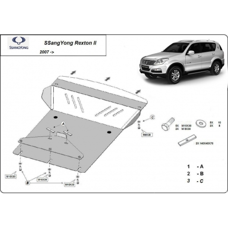 SsangYong Rexton 2 cover under the engine - Metal sheet
