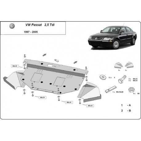 VW Passat Unterfahrschutz 2.5 Tdi, V6 - Stahl