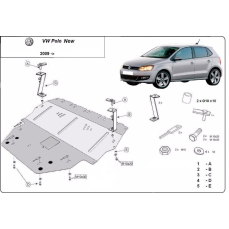 VW Polo cover under the engine - Metal sheet