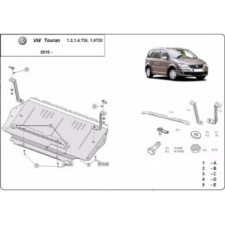 VW Touran cover under the engine 1.2, 1.4Tsi, 1.6 Tdi - Metal sheet