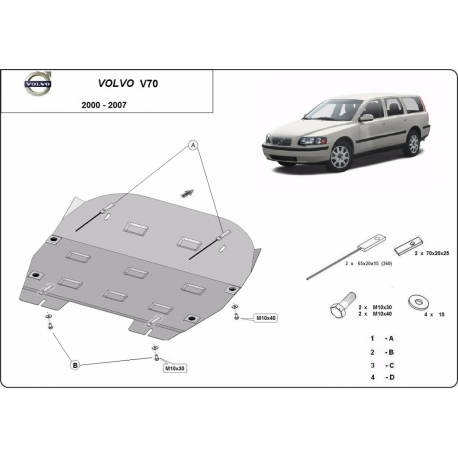 Volvo S70 cover under the engine - Metal sheet